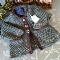 Luxery Baby Boys Long Aran Jacket  with wool 9-18 months