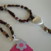 Genuine Tourmaline,  Indian Red Garnet  Necklace Silver Plate
