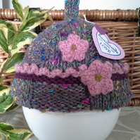 SALE ITEM Aran Baby Girl's Pixie Hat  0-3 months