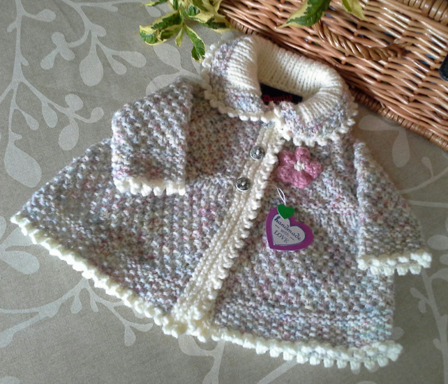 Aran Baby Girl's Jacket with Wool Newborn  size