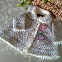 Luxery Aran Baby Girl's Jacket with wool 0-6 months