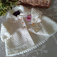 Luxery Aran Baby Girl's Coat with wool 0-3 months size