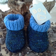 Baby Boys Aran Winter Booties 0-3 months size