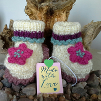 Luxery 'JAEGER'  Pure Marino  Wool  Girl's Booties  3-6 months size