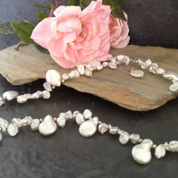 Genuine kiwi & Keshi Pearl Sterling Silver Necklace