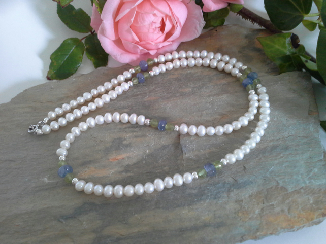 Freshwater Pearl, Tanzanite, Peridot Sterling Silver Necklace
