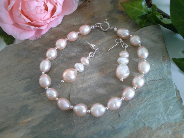 SALE Freshwater Pearl Bracelet & Earrings Bridal Set Sterling Silver