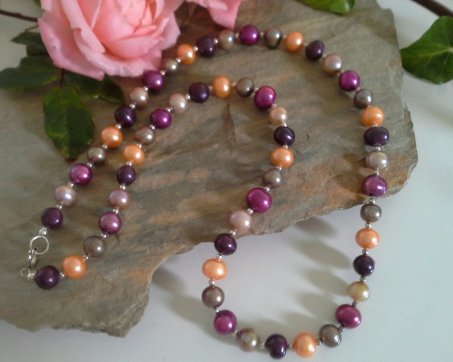 Genuine Multicoloured Freshwater Pearl Sterling Silver Necklace