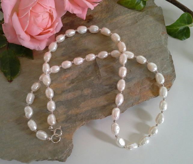 Ivory White Rice Shape Freshwater Pearl Sterling Silver Bridal Necklace
