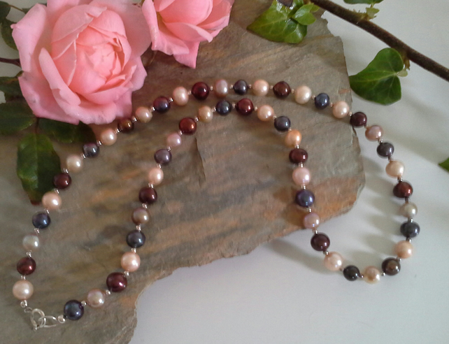 Multicoloured Freshwater Pearl Sterling Silver Necklace