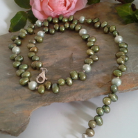 Genuine Fresh Water Culture Pearl Necklace 925 Sterling Silver