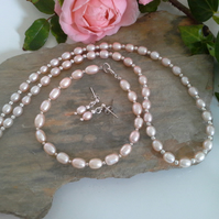 SPECIAL OFFER Freshwater Champagne Rice Pearl BRIDAL SET all in Sterling Silver