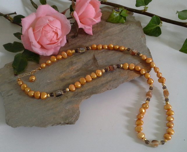 Golden Freshwater Pearl, Citrine, Abolone Shell Gold Vermeil Necklace