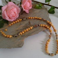 SALE Golden Freshwater Pearl, Citrine, Abolone Shell Gold Vermeil Necklace
