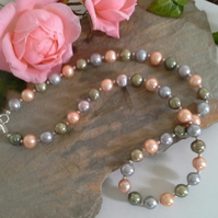 Large Multicoloured Freshwater Pearl Sterling Silver Necklace