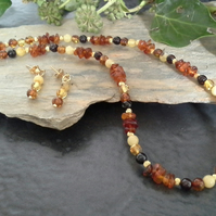 Genuine  Baltic Amber Sterling Silver Gold Vermeil Necklace & Earrings set.