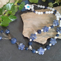 Sodalite &  Agate, Blue Jade Statenent Sterling Silver Necklace