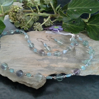 Natural Apatite & Fluorite Sterling Silver Necklace & Earrings Set