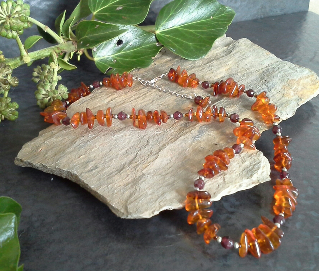 Genuine Baltic Amber & Indian Red Garnet Sterling Silver Necklace & Earrings Set