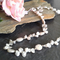 Ivory White Kiwi & Keshi Pearl Sterling Silver Necklace