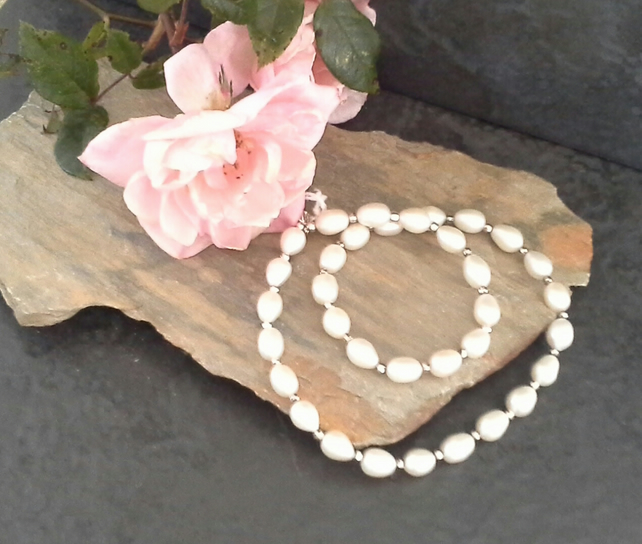 Ivory White Large Freshwater Pearl Sterling Silver Necklace