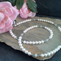 Freshwater Pearl, Apatite & Ethopian Wello Opal Sterling Silver Necklace