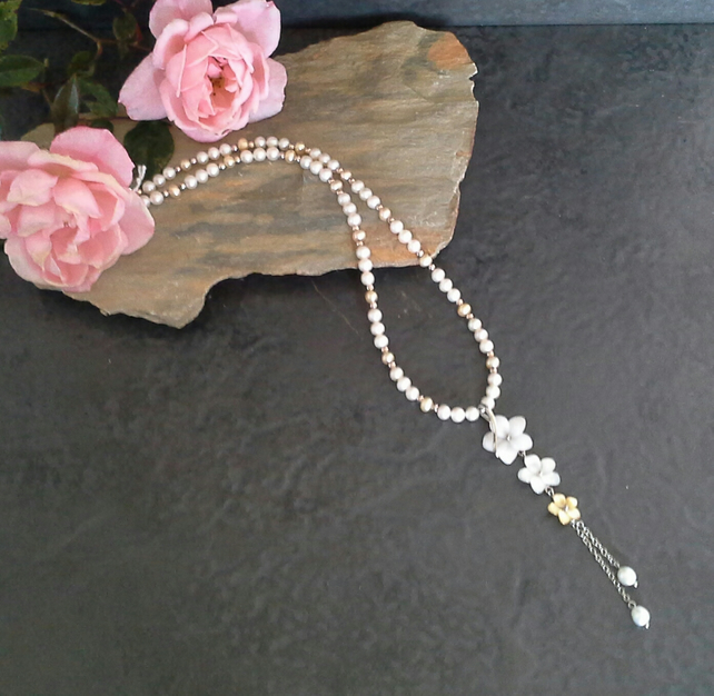 Freshwater Pearl & Mother of Pearl Luxery Sterling Silver Necklace