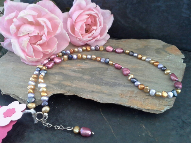 Genuine Freshwater Multicoloured Pearl Sterling Silver Necklace
