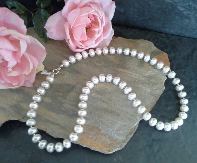 Genuine Quality Freshwater Button Pearl Sterling Silver Necklace