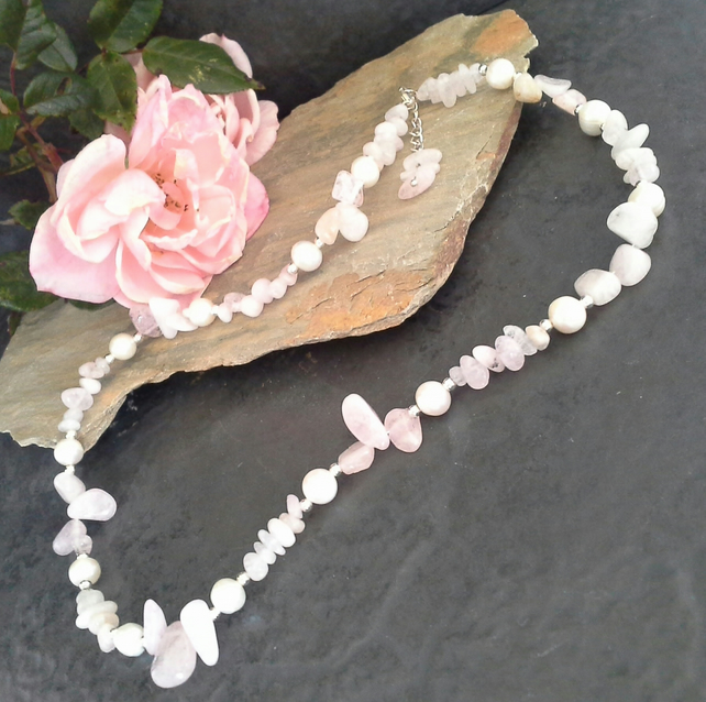 Rose Quartz & Freshwater Pearl Sterling Silver Necklace