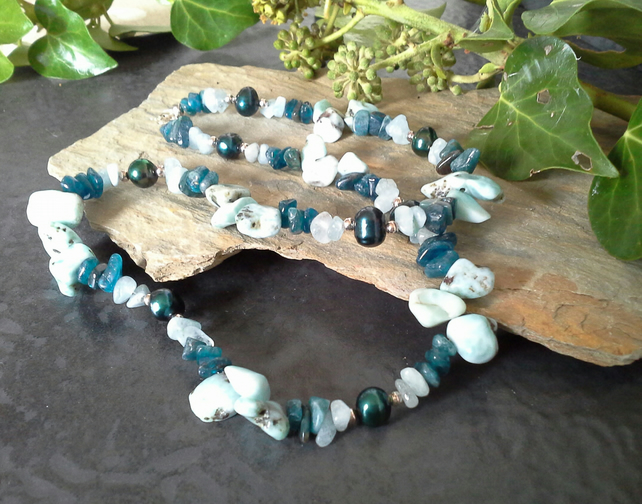 Genuine Larima, Apatite, Aquamarine & Freshwater Pearl Sterling Silver Necklace