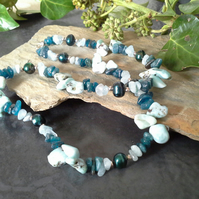 Genuine Larima & Apatite, aquamarine & Freshwater Pearl Sterling Silver Necklace
