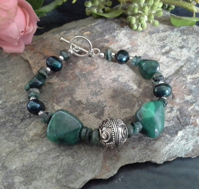 Natural Untreated Genuine Emerald Sterling Silver Bracelet