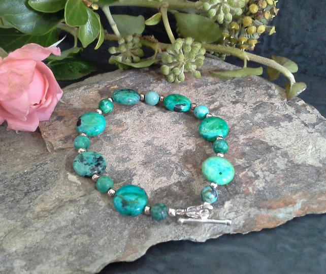 Rare Natural Turquoise Sterling silver bracelet
