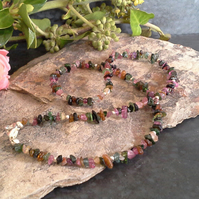 Tourmaline Small Nuggets Necklace Sterling Silver plated