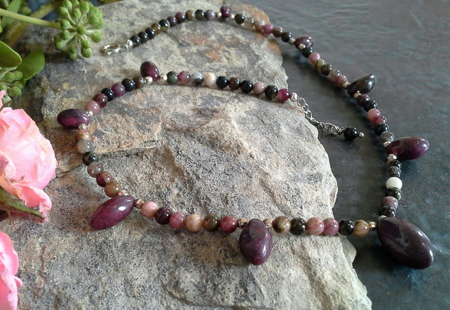 Genuine Ruby & Tourmaline Sterling Silver Necklace
