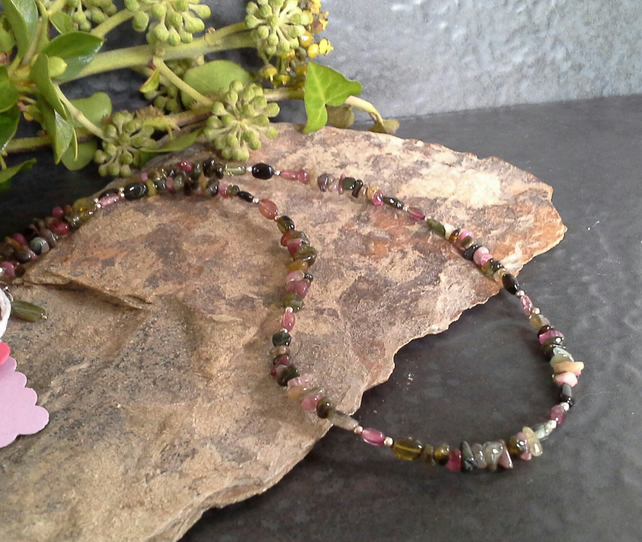 Genuine Tourmaline Sterling Silver Necklace