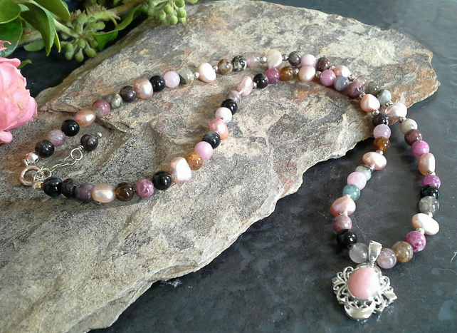 Genuine Tourmaline & Pink Opal  Necklace 925 Sterling Silver