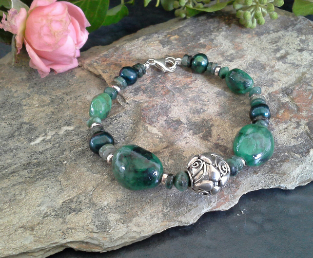 Natural Chunky Genuine Emerald & Freshwater Pearl, Sterling Silver Bracelet