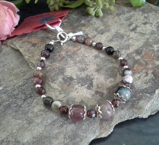 SALE Tourmaline & Indian Red Garnet Sterling Silver Bracelet (small size)