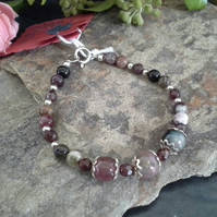 Genuine Tourmaline & Indian Red Garnet Sterling Silver Bracelet (small size)