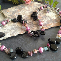 Genuine Tourmaline, Black Agate & Freshwater Pearl 925 Necklace & Bracelet Set