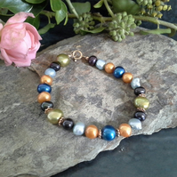 Genuine Multicoloured Freshwater Pearl Rose Gold Vermeil Bracelet