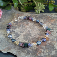 Genuine Multi Gemstone Sterling Silver Braceket