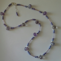 Genuine Amethyst & Metallic Lilac Seed Bead Necklace
