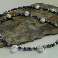 Howelite & Metallic Gray Seed Bead Necklace