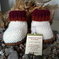 Unisex  Aran Winter Booties with wool 0-6 Months