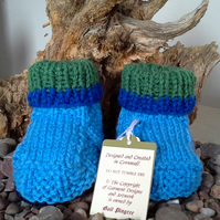 Baby Boys Aran Booties   3-6 months size