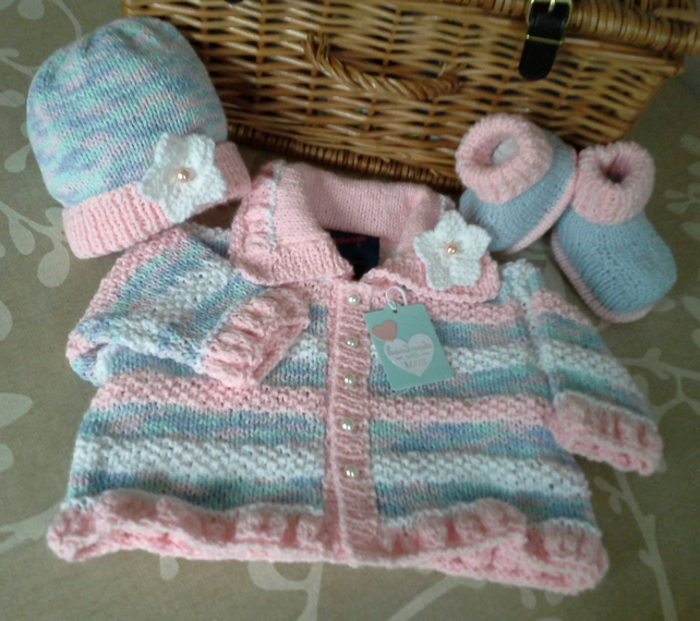 Baby Girls Jacket & Hat Set 0-6 months