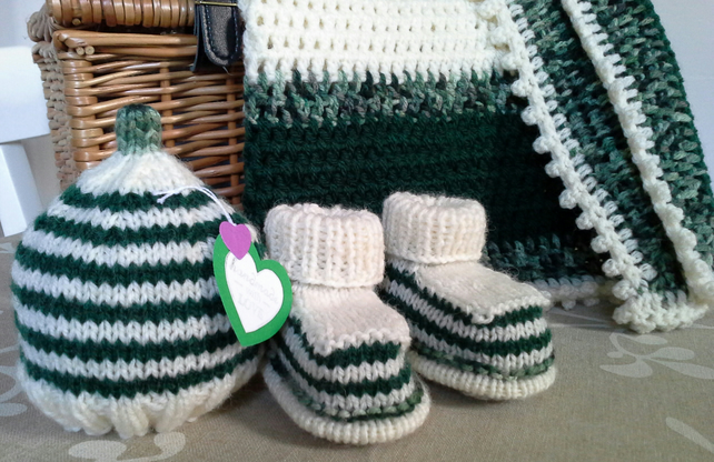 Baby Boy's Newborn Gift Set  with Aran Throw, Booties & Hat